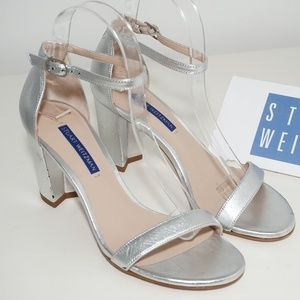 Stuart Weitzman NearlyNude Ankle Strap Silver